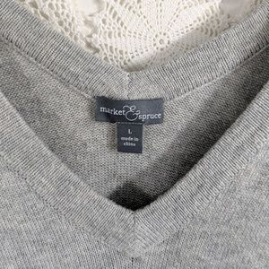 Market & Spruce Sweaters - Market & Spruce grey v neck sweater elbow patches